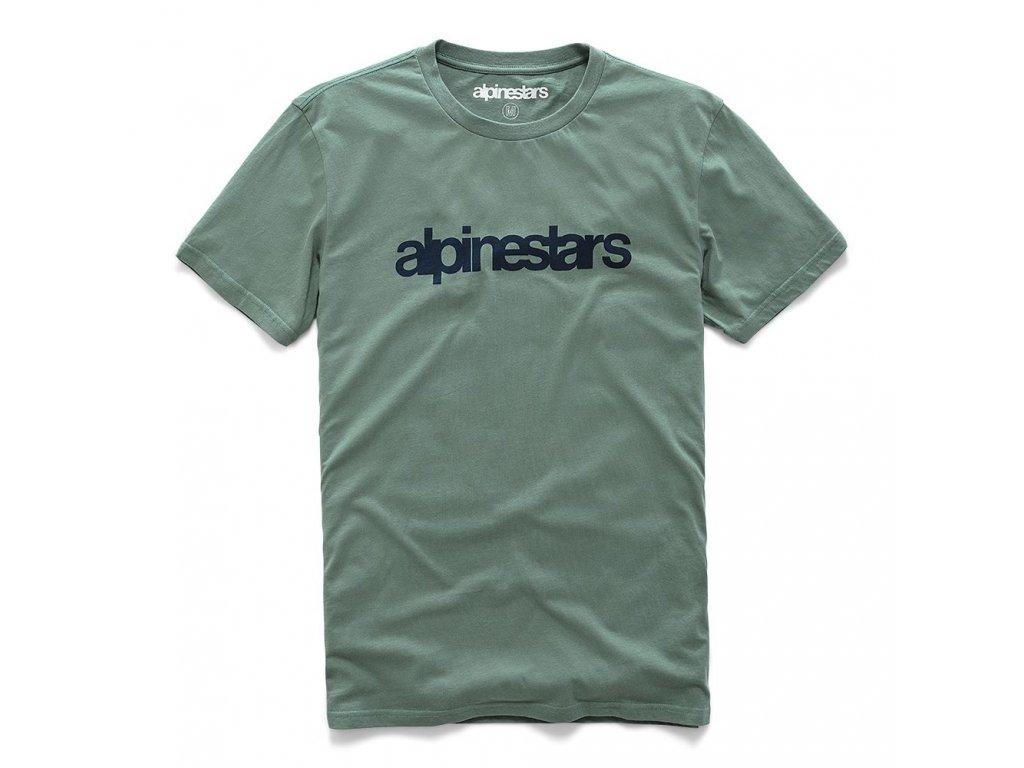 Pánské zelené prémiové tričko HERITAGE WORD PREMIUM TEE Alpinestars krátké 1210-73006 609