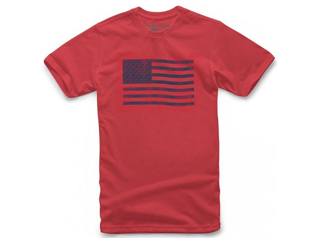 Pánské červené tričko FLAG TEE Alpinestars krátké 1210-72026 30