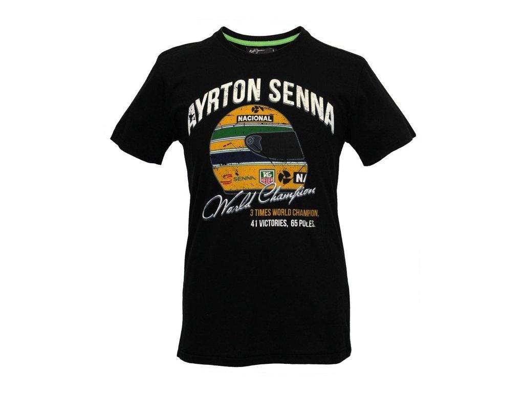 Pánské černé tričko Senna World Champion
