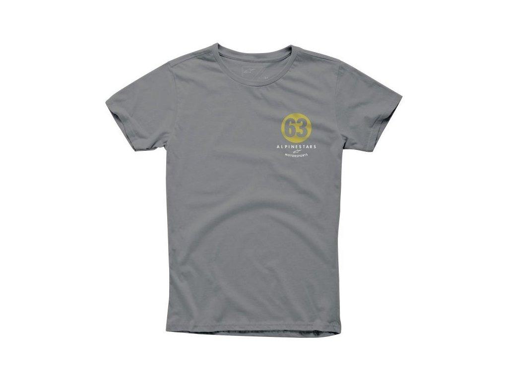 Pánské šedé tričko WORLD TEE Alpinestars krátké 1015-76020 18