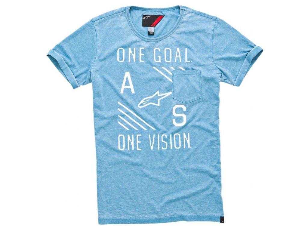 Pánské prémiové modré tričko BURNOUT TEE Alpinestars krátké 1015-45001 72