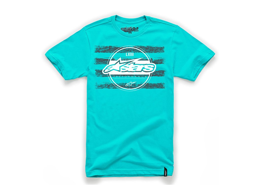 Pánské modré tričko CROSSBAR CUSTOM TEE Alpinestars krátké 1033-76004 7086