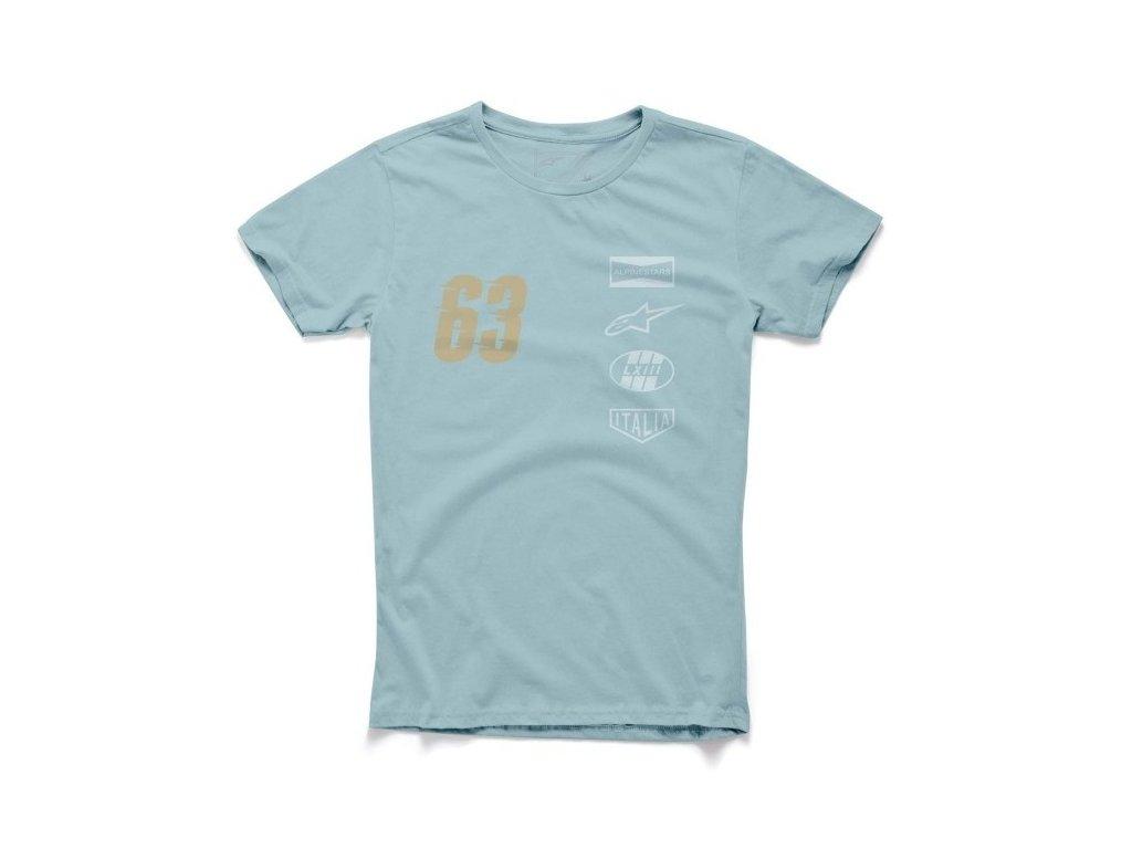 Pánské modré tričko PATRON TEE Alpinestars krátké 1015-76007 734
