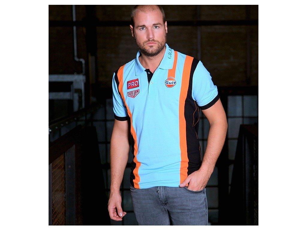 Pánské světle-modré polo tričko Racing 2.0 GULF