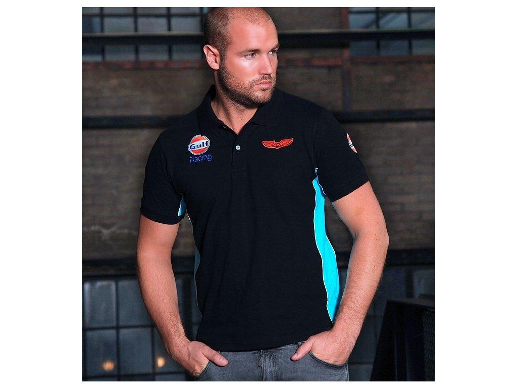 Pánské černé polo tričko Racing GULF