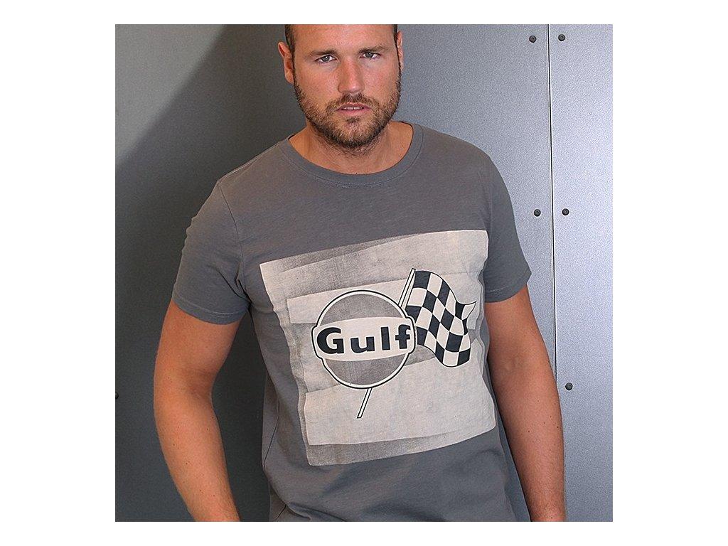 Pánské šedé tričko Racing Flag GULF