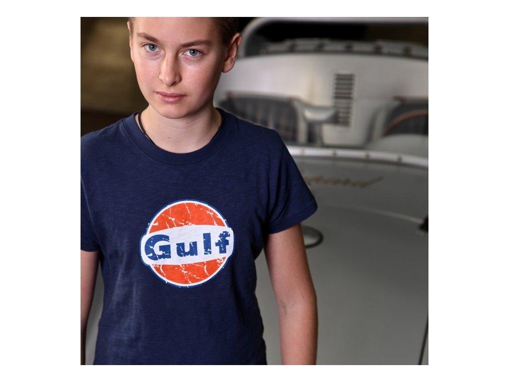 Dětské modré tričko Vintage GULF - 2-3 roků