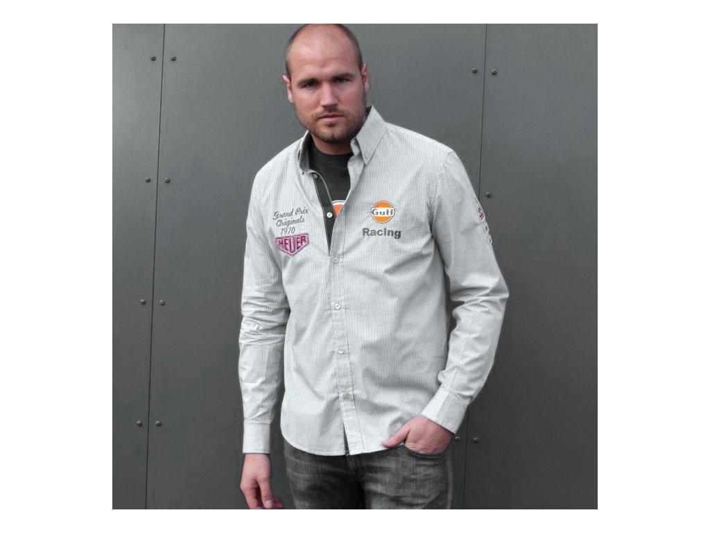 Pánská šedá košile Grid GULF
