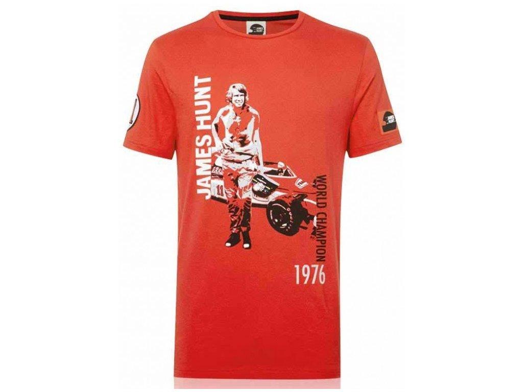 Pánské červené tričko Portrait James Hunt