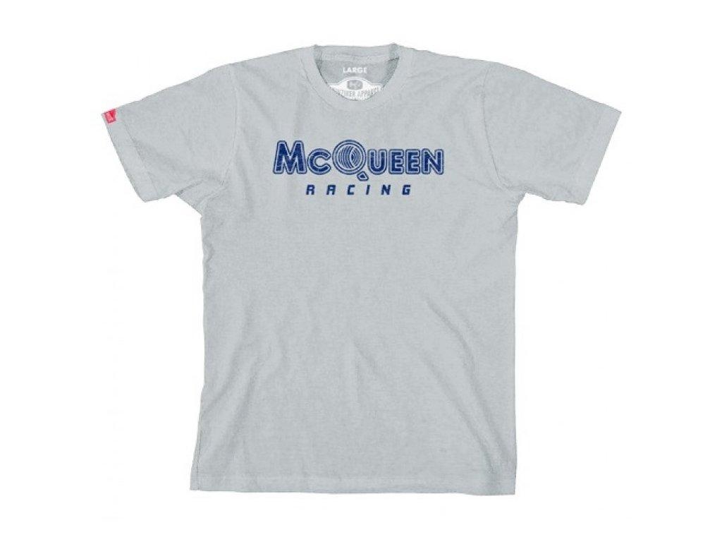 Pánské šedé tričko Racing Logo Steve McQueen