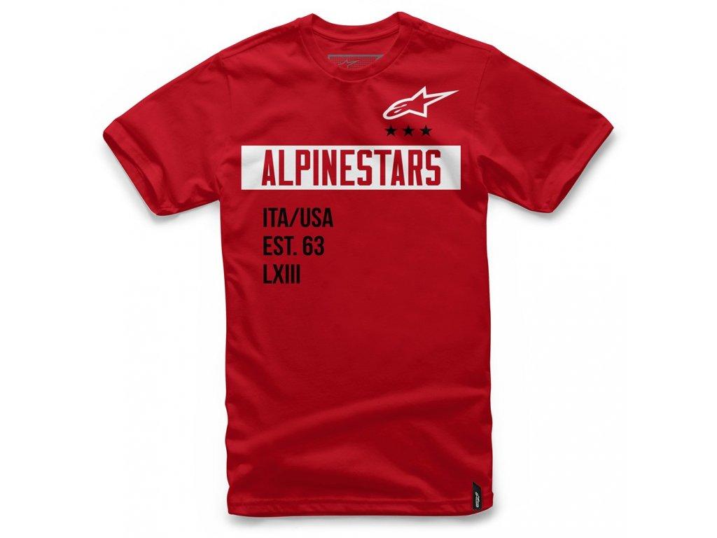 Pánské červené tričko VALIANT TEE Alpinestars krátké 1036-72002 30