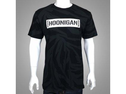 Pánské černé tričko HOONICORN CENSOR BAR TEE Hoonigan krátké HM210HCCB BLK