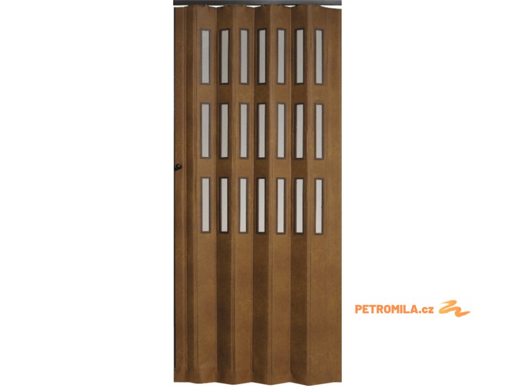 Koženkové shrnovací dveře šířka na míru do 90cm (ODSTÍN TMAVÁ HNĚDÁ, TYP prosklené, VÝŠKA DVEŘÍ 251-260cm)