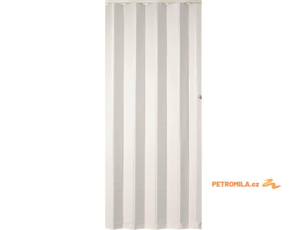 Koženkové shrnovací dveře - bílé, 83x200cm