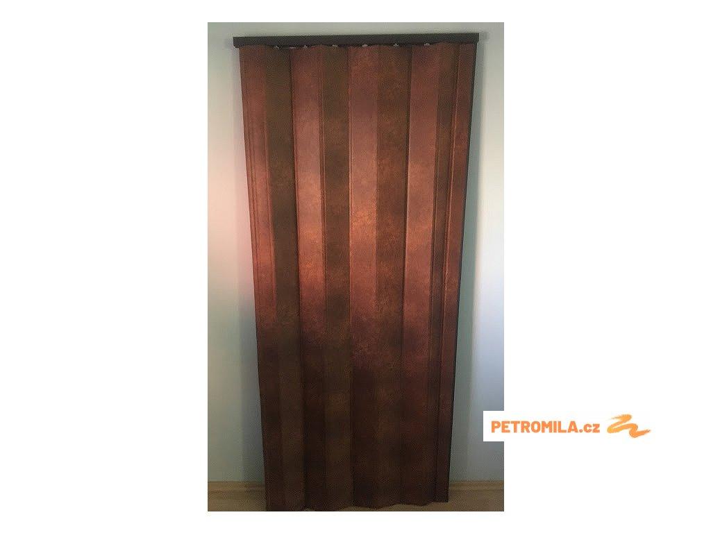 Koženkové shrnovací dveře - hnědé, 83x200cm (TYP prosklené)