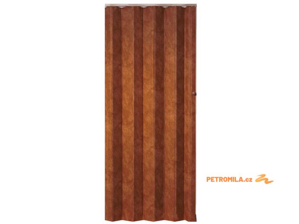 Koženkové shrnovací dveře tmavá třešeň 83x200cm