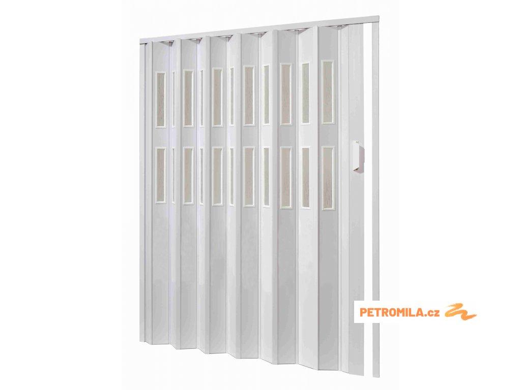 Plastové shrnovací dveře, šířka a výška na míru do 60*200cm (ODSTÍN HNĚDÁ, TYP DVEŘÍ 4 řady prosklení)