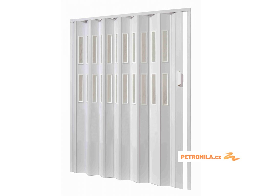 Plastové shrnovací dveře, šířka a výška na míru do 61-65x250cm (ODSTÍN HNĚDÁ, TYP DVEŘÍ plné)