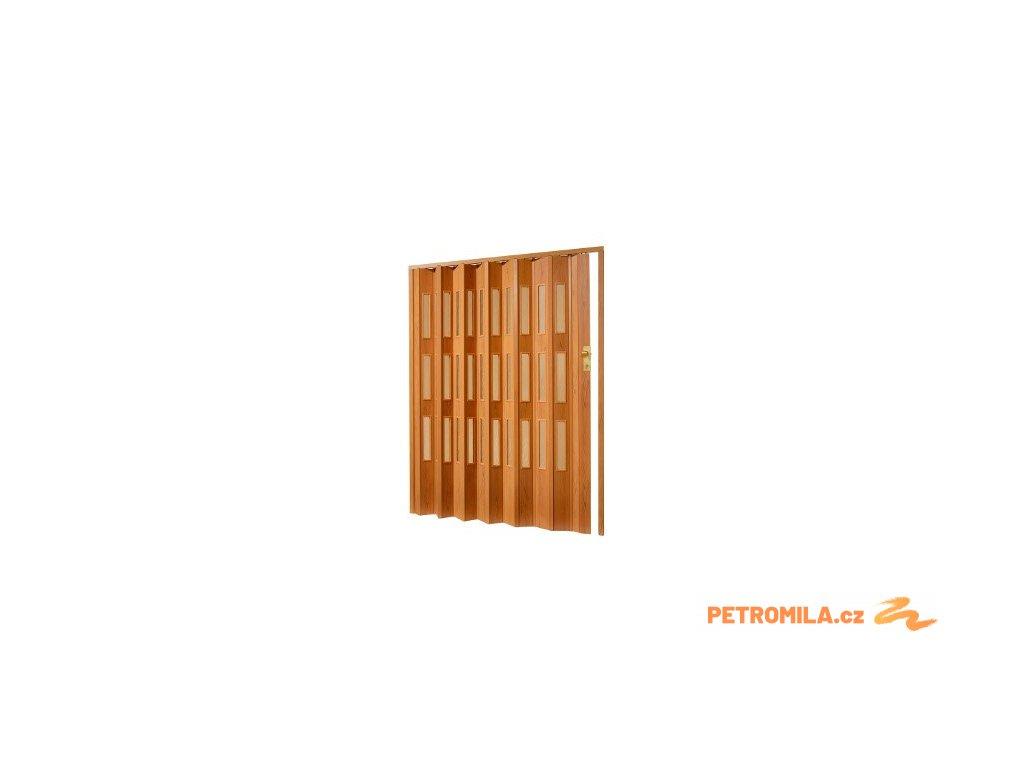 Plastové shrnovací dveře v imitaci dřeva, šířka a výška na míru do 127-132x200cm (ODSTÍN TMAVÝ OŘECH, TYP DVEŘÍ plné)