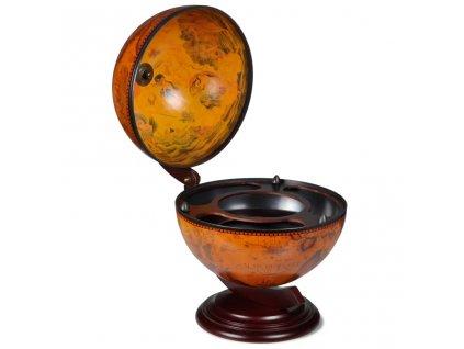 Stolní globus bar stojan na víno eukalyptové dřevo