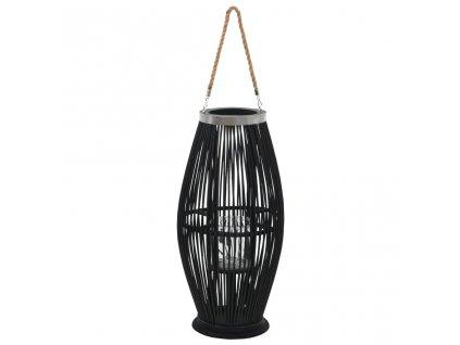 Závěsná lucerna na svíčku bambus 60 cm černá