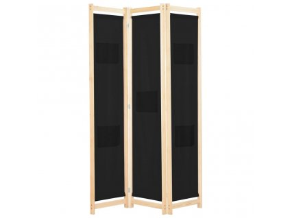 3dílný paraván černý 120 x 170 x 4 cm textil