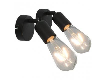 Bodová světla 2 ks se žhavicími žárovkami 2 W černá E27