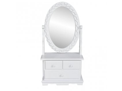 Toaletní stolek s oválným sklopným zrcadlem MDF