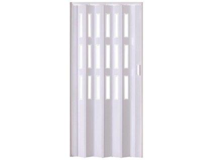 Shrnovací dveře LUCIANA bílé (PROVEDENÍ TŘI ŘADY PROSKLENÍ, ŠÍŘKA 197cm)