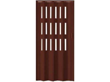 Shrnovací dveře LUCIANA hnědé (PROVEDENÍ ČTYŘI ŘADY PROSKLENÍ, ŠÍŘKA 88,5cm)