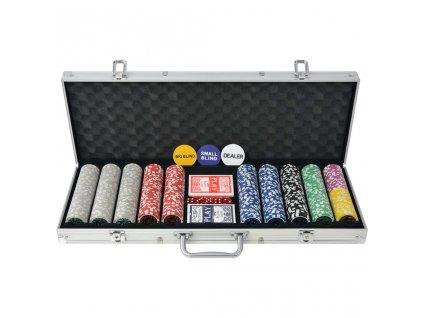 Poker set s 500 laserovými žetony z hliníku