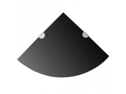 Rohová police s chromovými podpěrami sklo černé 25x25 cm