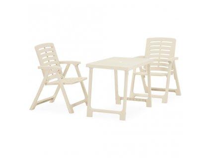 3dílný skládací balkonový set plastový bílý