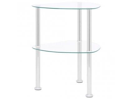 2patrový odkládací stůl průhledný 38 x 38 x 50 cm tvrzené sklo