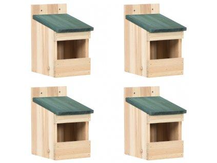 Ptačí budky 4 ks 12 x 16 x 20 cm jedlové dřevo