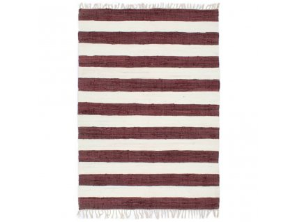 Ručně tkaný koberec Chindi bavlna 80 x 160 cm vínovo-bílý
