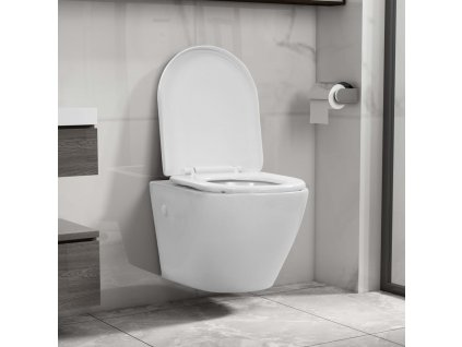 Závěsné WC bez okraje keramické bílé