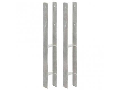 Plotové kotvy 2 ks stříbrné 7 x 6 x 60 cm pozinkovaná ocel