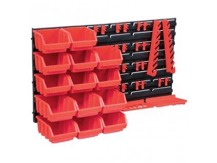 39dílný set skladovacích zásobníků nástěnné panely červenočerný
