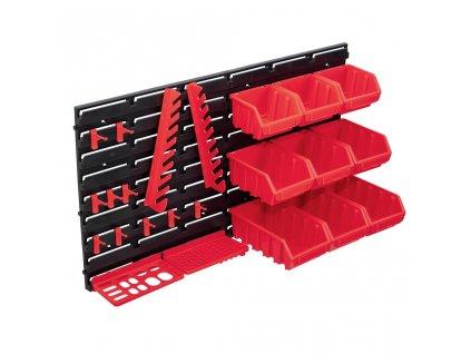 34dílná sada skladovacích zásobníků nástěnné díly červenočerná