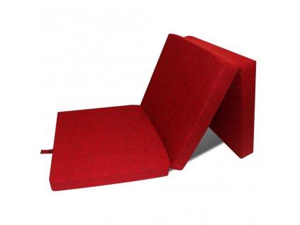 Trojdílná skládací pěnová matrace 190x70x9 cm červená