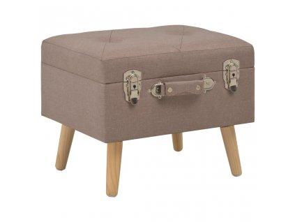Stolička s úložným prostorem 40 cm hnědá textil