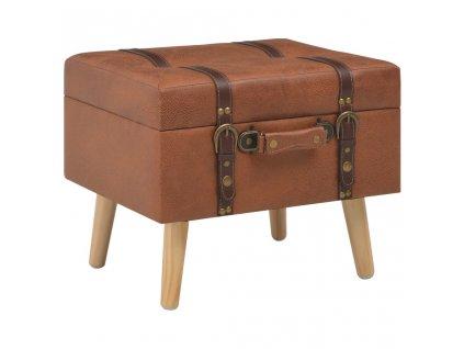 Stolička s úložným prostorem 40 cm bronzová umělá kůže