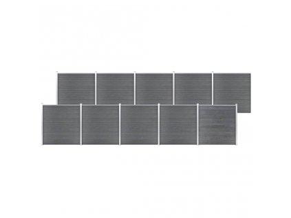 Zahradní plot WPC 1737 x 186 cm šedý