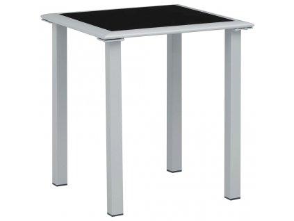 Zahradní stolek černý a stříbrný 41 x 41 x 45 cm ocel a sklo
