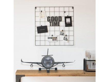 Letecké hodiny šedé 41 x 8 x 17 cm kov