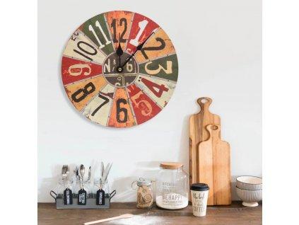 Nástěnné hodiny vícebarvené 30 cm MDF