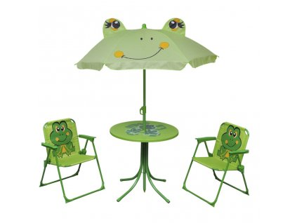 3dílný dětský zahradní bistro set se slunečníkem zelený