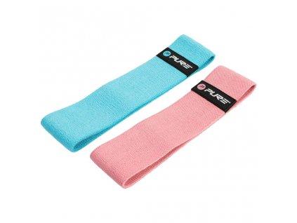 Pure2Improve Sada cvičebních pásů modrá a růžová