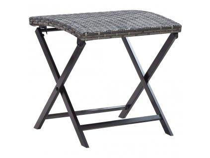 Skládací stolička polyratan šedá